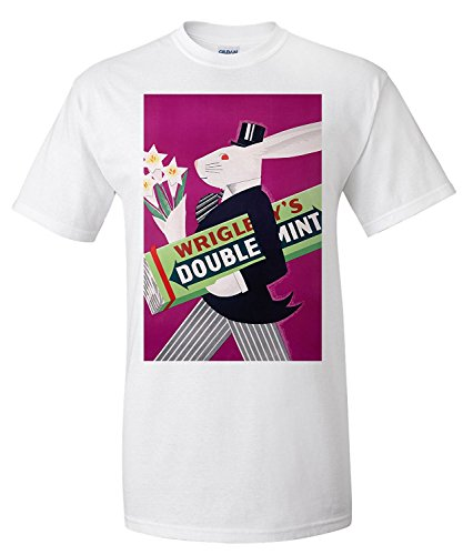 wrigleys-doublemint-rabbit-with-flowers-vintage-poster-usa-c-1934-premium-t-shirt