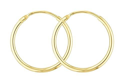 Ohrringe, Creolen, Gelbgold 585/14 K, Außendurchmesser 20 mm, Breite 1.5 mm, Gewicht ca. 0.7 g, NEU