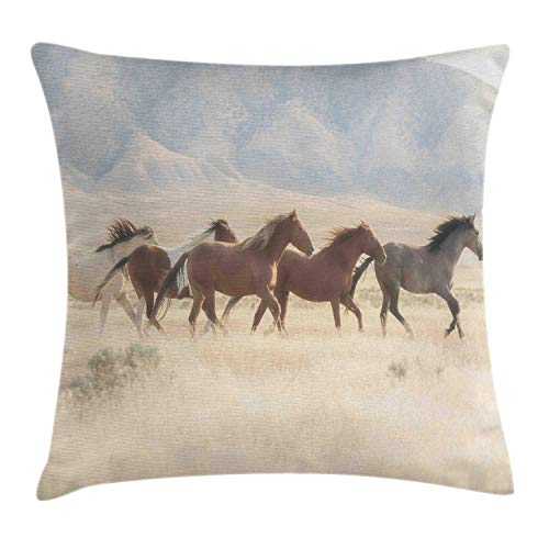 MLNHY Landscape Throw Pillow Cushion Cover, Wild Mustang Horses Herd Running in a Valley Utah Outdoor Scenery Photography, Decorative Square Accent Pillow Case, Multicolor,18 X 18 Inches