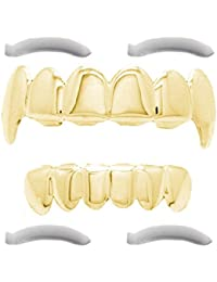 Top Class Jewels 24K gold plated grillz with micropave CZ diamonds + 2 extra moulded parts (each style, white gold, silver, gold, diamonds) (gold with teeth)