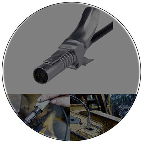 Hochdruckschmiernippel der Zange sichern - Kupplung mit Service/Wartungsset | Für Kegel-Schmiernippel | Leichtes An-und Ausziehen, Aufenthalte auf | Schmier geht in, nicht auf der Maschine (Silber)