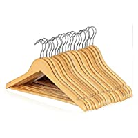 RelianceUK 100 x Strong Wooden Coat Hangers with Round Trouser Bar and Shoulder Notches