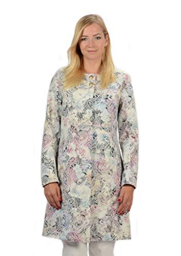 Stayer Damen-Mantel Blumen Muster Langer Leichter Mantel Coat Jacke Weiß Beige (XS) (Langer Mantel-muster)