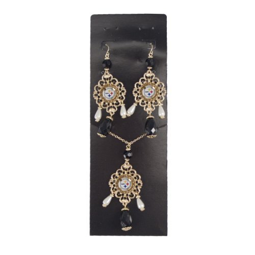 nfl-pittsburgh-steelers-baroque-necklace-and-earring-set-black-by-littlearth