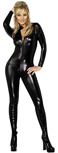 HarrowandSmith Frauen Sexy Girls Kunstleder Reißverschluss vorne Catsuit im Wet-Look PVC-Overall-Katze Frauen Catsuit Outfit Dessous (extra groß, Schwarz)