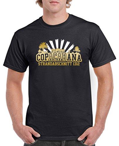 Comedy Shirts - Copacabana Strandabschnitt 1312 - Herren T-Shirt - Schwarz/Gold-Weiss Gr. M Schwarz-gold-tv-serie