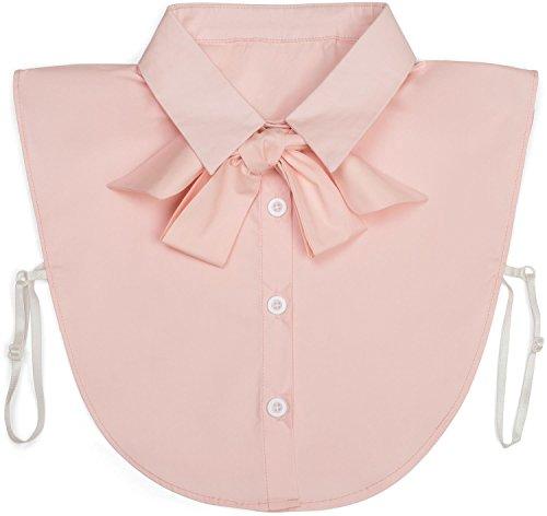 styleBREAKER Blusenkragen Einsatz mit Knopfleiste und Schleife, Kragen für Blusen und Pullover, Schluppenbluse, Damen 08020003, Farbe:Rose