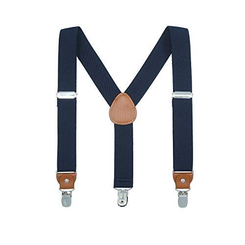 ur Kinder Erwachsene - Elastisch Einstellbar Y geformt Braunes Leder 3 Clips auf dem Hosentrager (Navy blau, 60cm(7 Monate - 3 Jahre)) ()