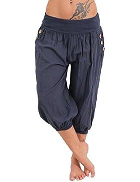 Junkai Donna Cotone Pantalone Cavallo Basso Di Alta Tempo Libero Qualità Colore Puro Di Grandi Dimensioni Pants...