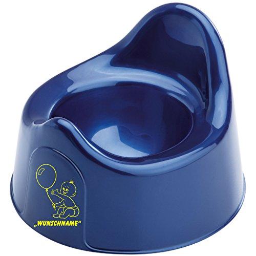 INDIGOS UG - Babytopf / Topf / Töpfchen 063 mit Wunschname / Wunschtext in verschiedenen Farben für Jungen und Mädchen - blau (T-shirt Text Gelben)