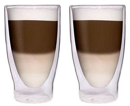 Aktion: 2X 370ml XXL doppelwandige Cocktailgläser/Longdrinkgläser / Eistee-Gläser/Saft- und Wassergläser - edle große Thermogläser mit Schwebeeffekt von Feelino
