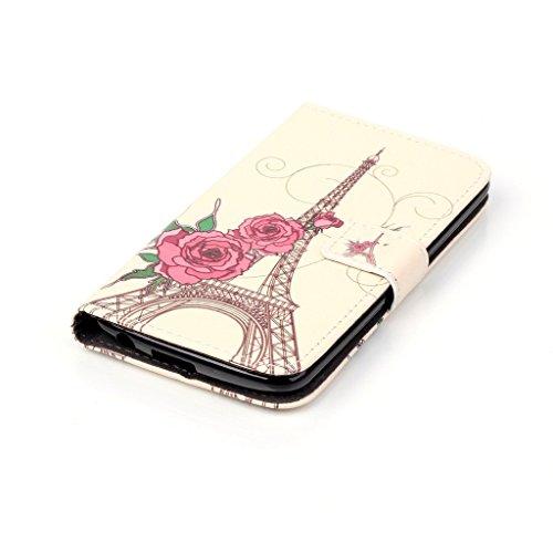 Apple iPhone 5C Case [con protezione schermo libero], nanxi Colorful Nizza Pattern PU portafoglio in pelle con porta carte di credito slot Smart Standing stile ultra sottile custodia pr