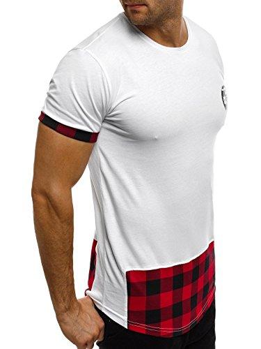 OZONEE Herren T-Shirt mit Motiv Kurzarm Rundhals Figurbetont BREEZY 287T Weiß