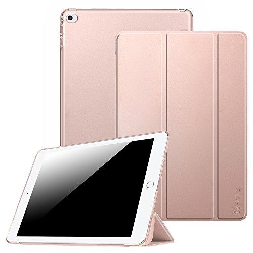 Fintie Hülle für iPad Air 2 - Ultradünne Superleicht Schutzhülle mit transparenter Rückseite Abdeckung Smart Case mit Auto Schlaf/Wach & Standfunktion, Roségold
