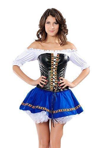 Damen Sexy Deutsch Schwedisch Beer Maiden Oktoberfest Mädchen Kostüm - Blau, Blau, (Kostüme Damen Mädchen Deutsch)