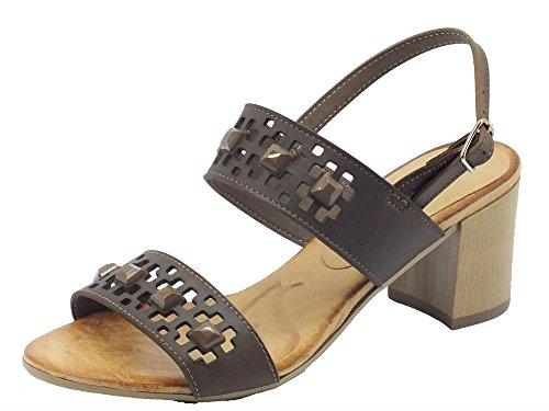 Sandali Mercante di Fiori in pelle cuoio tacco medio (Taglia 40)