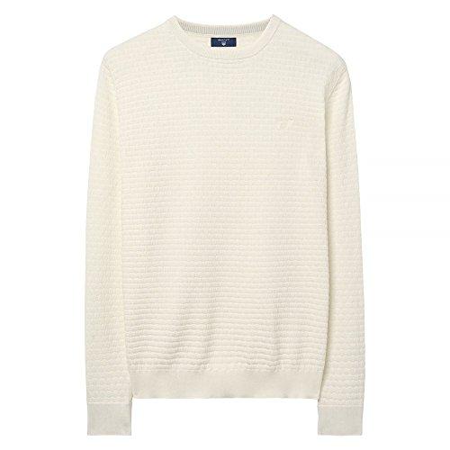 GANT Herren Pullover Cotton Texture Crew Sweater Beige (Cream)