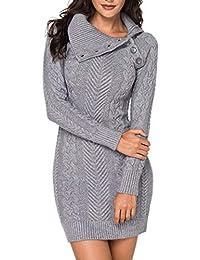 Itsmode Damen Pullover Kleid Elegant Strickkleid Casual Langarm Winterkleid Einfarbig Rollkragen Jumper Minikleid Elegante Warme Wickelkleid