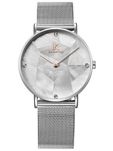 Alienwork Damen-Armbanduhr Quarz Silber mit Metall Mesh Armband Edelstahl Weiss Perlmutt-Zifferblatt Ultra-flach Slim-Uhr elegant