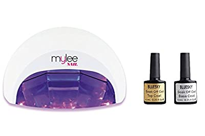 Gel Polish Nail Manicure Kit Shellac Bluesky Top Base Coat Mylee LED Lamp Dryer