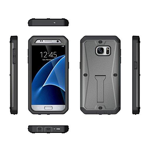 S7 Coque,EVERGREENBUYING Etanche Etui de Protection [Seulement goutte étanche] SM-G9300 Housse étui [Kickstand Series] incassable back cover rigide anti Case pour Samsung Galaxy S7 Noir Gris