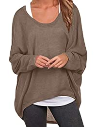 b0465829b9 ZANZEA Damen Lose Asymmetrisch Jumper Sweatshirt Pullover Bluse Oberteile  Oversize Tops