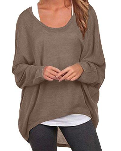 ZANZEA Damen Lose Asymmetrisch Jumper Sweatshirt Pullover Bluse Oberteile Oversize Tops Braun EU 36/Etikettgröße S