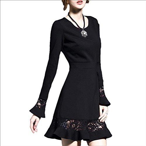 Robe de mode robe de dentelle - noir long sleeves