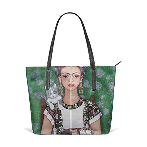 Cocoal-ltd Frida - Bolso de piel para amantes de los gatos, bolso de hombro, bolso de mano portátil