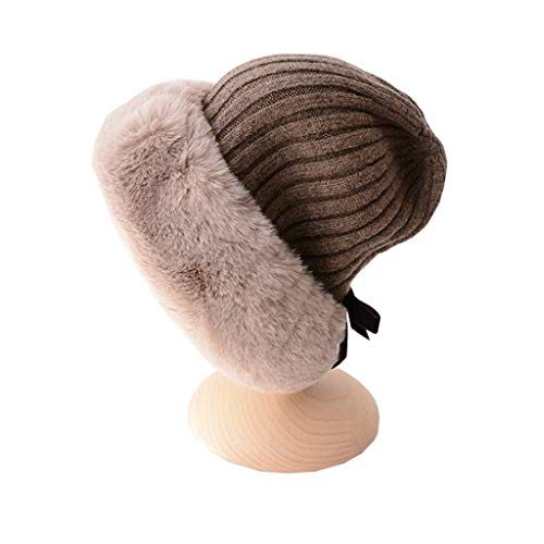 Nosterappou Chapeau Tricot d'étudiant, Bonnet d'automne et d'hiver en Arc, Bonnet de Laine de Manchons antibruit à la Mode, Bonnet de Bonnet Chaud (Couleur : Brown)