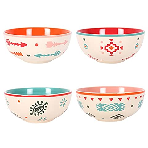 Set of 4 BOHO Themed Ceramic HAND PAINTED SOUP BOWLS For Soups, Salsa, Salad, Cereal–– GRAND PRIMO® Exclusive Hand-painted Ceramic Bowls – 100% Dish Washer Safe Hand Painted Ceramic Bowl