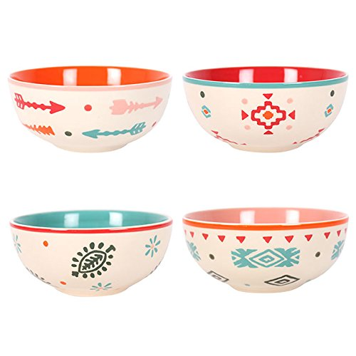 Set di 4ciotole di ceramica dipinta a mano a tema boho per zuppe, salsa, insalata, pasta -- Grand primo® esclusivo ciotole in ceramica dipinta a mano-100% lavabile in lavastoviglie ciotola in ceramica dipinta a mano