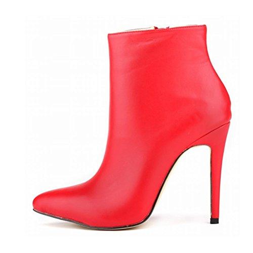QPYC Scarpe da donna Stivali romani a punta Fine tacco Cerniera laterale Stivali corti con tacco alto Stivali nudi di grandi dimensioni Red