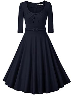 MUXXN Damen Retro 3/4 Arm Rockabilly Cocktailkleider Freizeit Swing Kleid Vintage Ballkleid