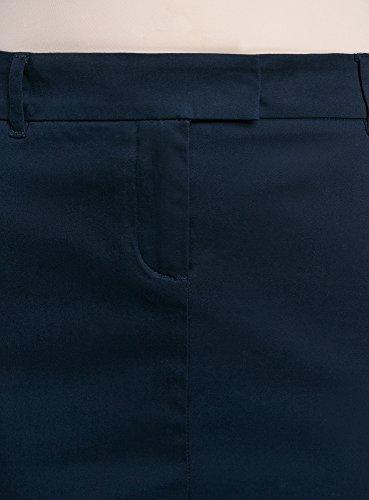 oodji Collection Damen Gerader Baumwoll-Rock Blau (7900N)