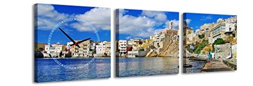 Quadratische Uhr Sommer Küste Gebäude Stadt Griechenland Polis Wasser Ferienhäuser Wanduhr