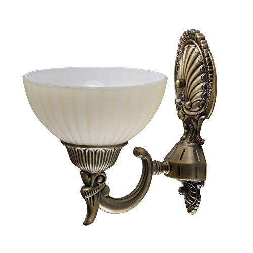 Antike kompakte Wandleuchte 1 flammig messingfarbiges Metall vanillafarbiges Glas grelles indirektes...