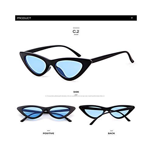 Sportbrillen, Angeln Golfbrille,Longkeeper Cute Sexy Retro Cat Eye Sunglasses Women Small Black White NEW Triangle Vintage Cheap Sun Gglasses Red Female UV400 C2
