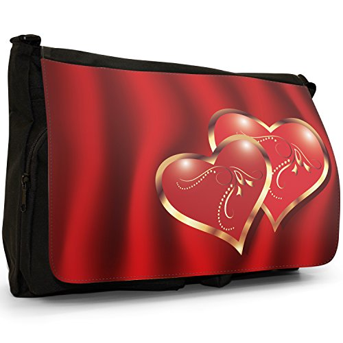 Fancy A Bag Borsa Messenger nero Heart Graffiti Elegant Pair Of Hearts On Deep Red Background