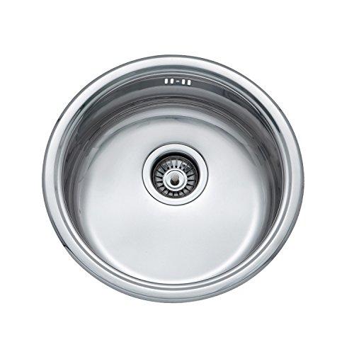 JASS FERRY - Escurreplatos redondo de acero inoxidable, 145 mm de profundidad, para fregadero de cocina con colador, tuberías de residuos, clips de fijación