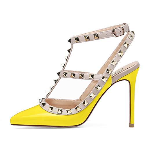 CAPAN Damen Spitzen Zehen High Heels Studded Gold Stud besetzte Riemchen Slingback Stilettos Leder Sandalen Pumps -