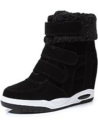 NSXZ botas de cuero mate aumento de la pendiente femenina con botas de fondo grueso, más zapatos con velcro dentro de terciopelo de Corea , 39