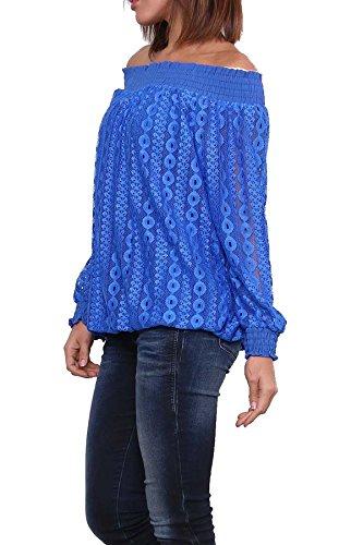 Damen Ballon Bluse aus Spitze Carmenbluse Shirt Tunika One Size Doppellagig Blau