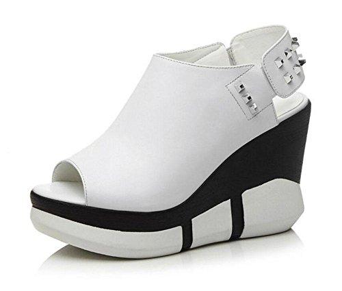 GLTER Donne Peep Toe cuneo della piattaforma di Slingback sandali femminili sandali degli alti talloni pompe Bianco Nero White