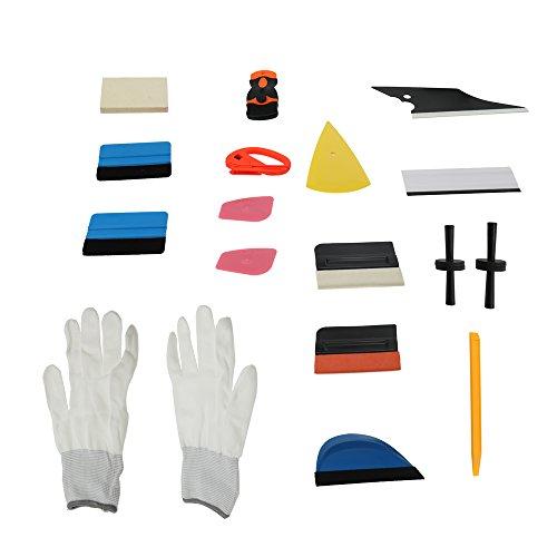KKmoon professionelle Film Set Werkzeuge von Auto Kunststoff kratzfest Rakel Schaber Razor Handschuh Magnete (60 Auto Tönung)