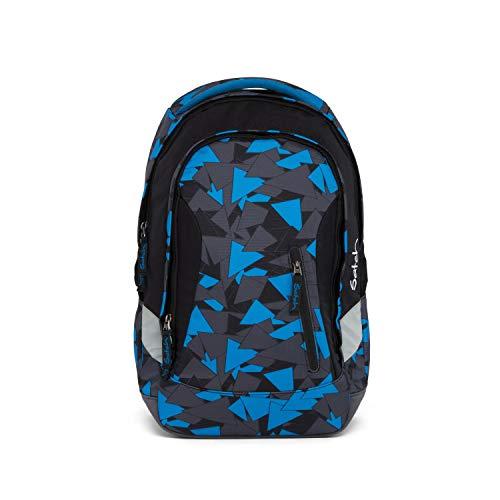 Satch Sleek Blue Triangle, ergonomischer Schulrucksack, 24 Liter, extra schlank, Blau/Schwarz/Grau