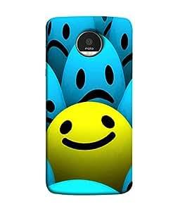 FUSON Designer Back Case Cover for Motorola Moto Z :: Motorola Moto Z Droid in USA (Cute Smilies Pattern Blue And yellow Arts)