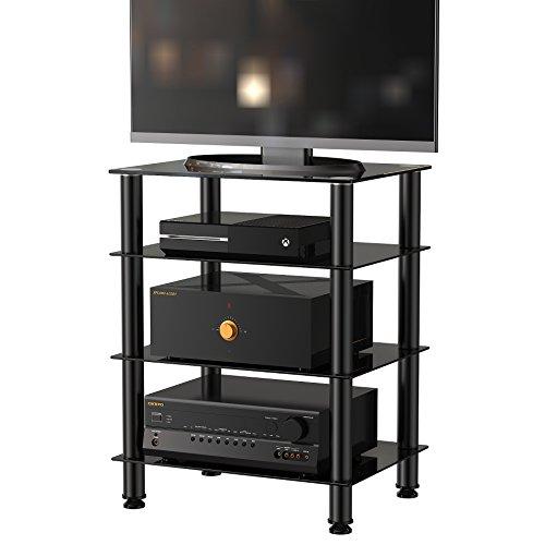 FITUEYES Meuble TV Tablette avec Télé Support pour Hifi Boitier TV Lecteur DVD Enceinte Cinéma avec 4 Etagères en Verre Trempé Noir AS406001GB