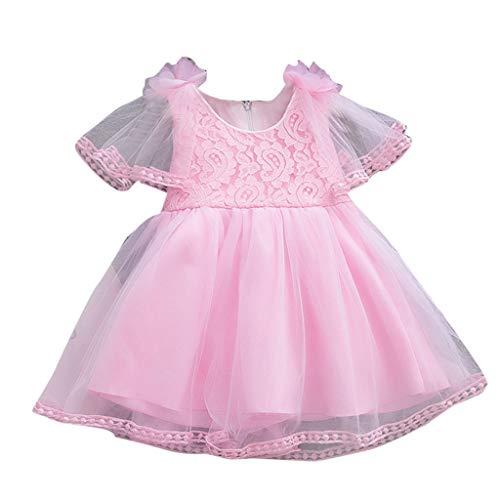 Amphia - Baby Mädchen Sommer Kleidung - Kinder Sleeveless Solid Color Lace Blume Mesh Rock Nähte Rock Hauchrock Kleid,(6M-24M)