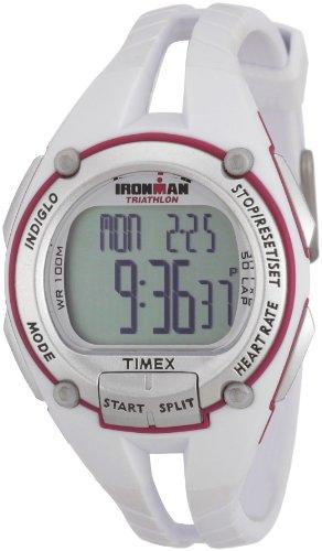 Timex Ironman Road Trainer - Reloj digital de mujer de cuarzo con correa de goma blanca (monitor de frecuencia cardiaca, alarma, cronómetro, luz) - sumergible a 100 metros